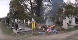 У Мукачеві горить найбільший цвинтар (відео)