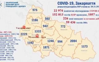 На Закарпатті 226 нових випадків Ковід 19, по Україні більше 16 000