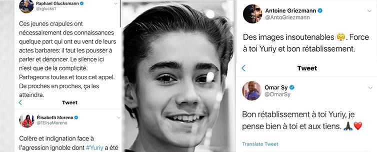 Жорстоке побиття українського юнака Юрія у Парижі зчинило значний резонанс: Грізман, Омар Сі та багато інших політиків, акторів, спортсменів виступили із закликом підтримати родину