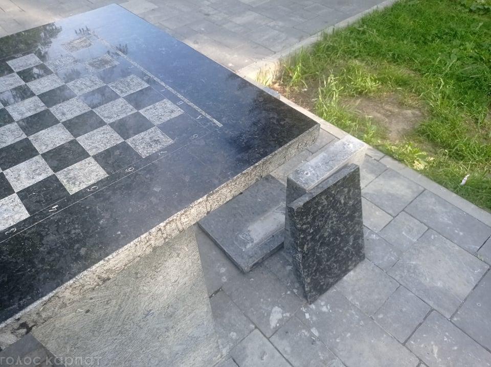 У Мукачеві вандали в парку понівечили шахову локацію (ФОТО)