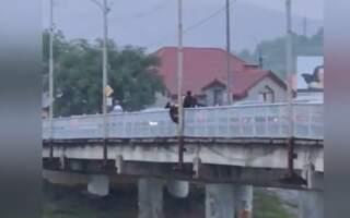 Спроба самогубства: На Закарпатті жінка намагалася стрибнути з моста (ВІДЕО)
